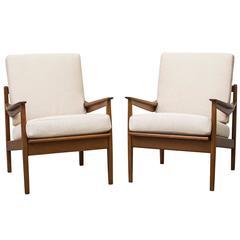Pair of Danish Mid-Century Lounge Chairs in Bone