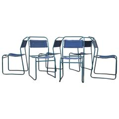 Stacking Blue Canvas Camp Chairs