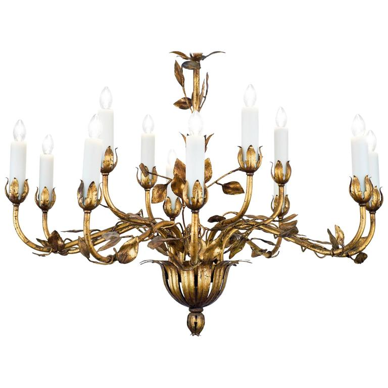 French Gold Leaf Tole Chandelier For Sale