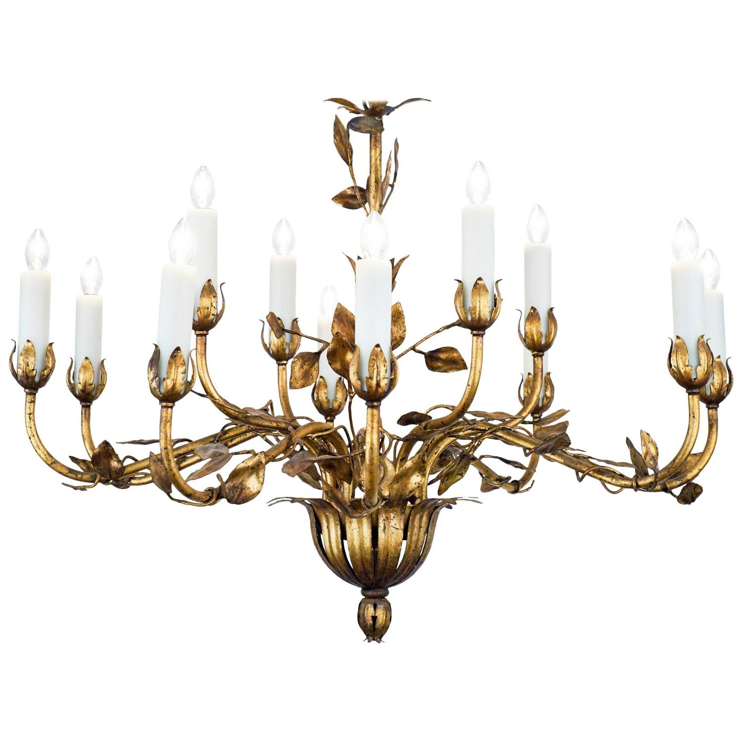 Magnificent 1940s spanish 16 arm gold toleware chandelier at 1stdibs french gold leaf tole chandelier arubaitofo Choice Image
