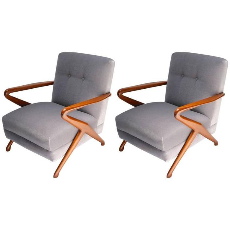 Pair of 1960s Armchairs Attributed to Carlo de Carli