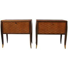 A Pair of Fine French Art Deco Rosewood Cabinets or Commodes by Jean Pascaud