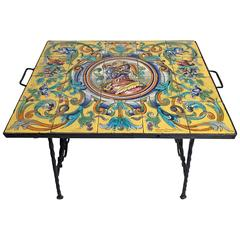 Hand-Wrought Iron Table with Spanish Ceramic Tile Top