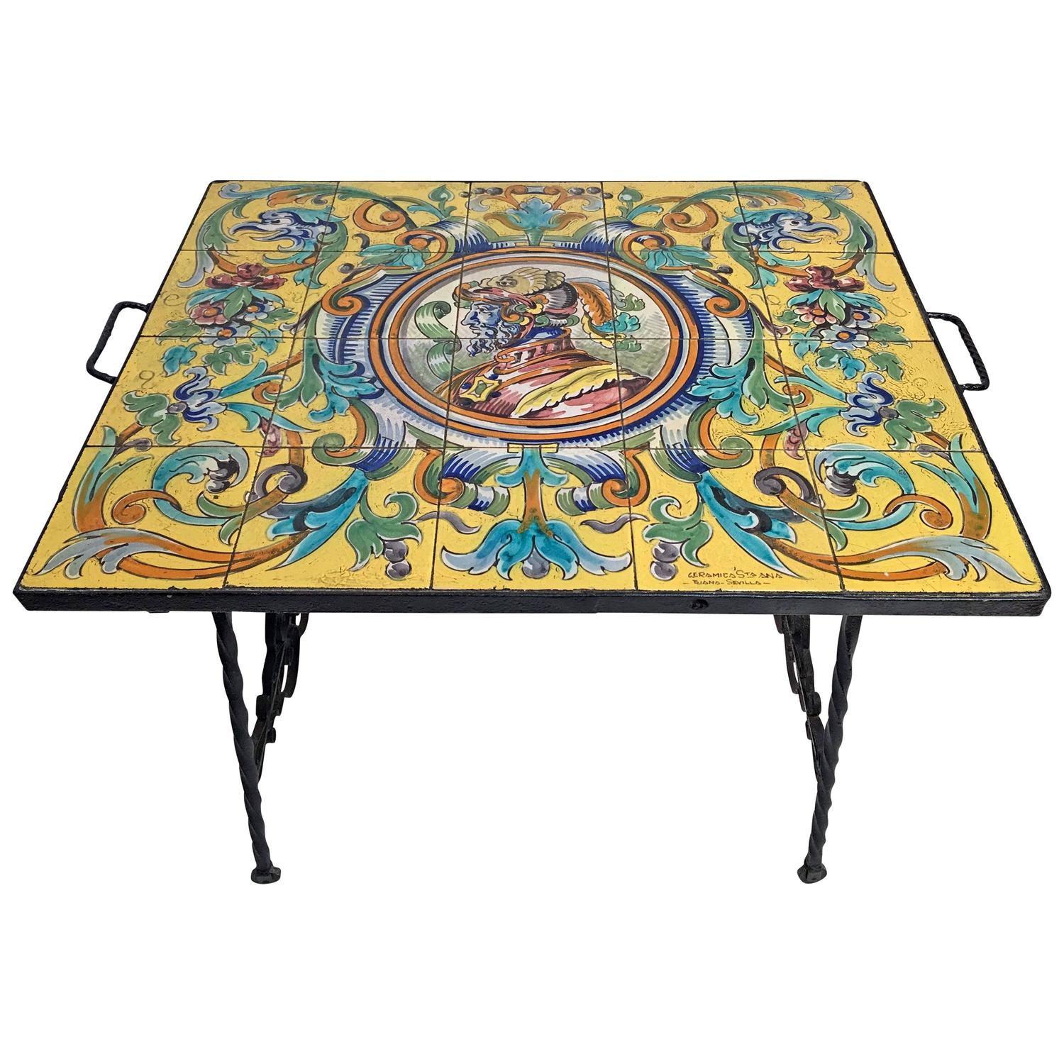 Hand Wrought Iron Table with Spanish Ceramic Tile Top For Sale at