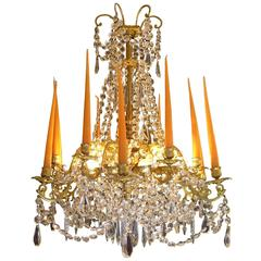 French Louis XVI Style Gilt Bronze and Crystal Chandelier Attributed to Baguès