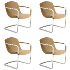 Four Stylish Italian 1970s Chrome Chairs with Original Fabric