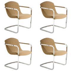 Four Stylish Italian 1970s Chrome Chairs with Original Fabric