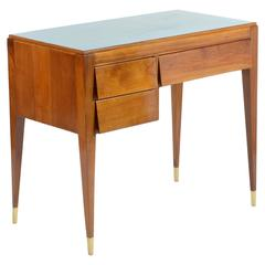 Slender Italian Solid Walnut Little Desk Gio Ponti Style