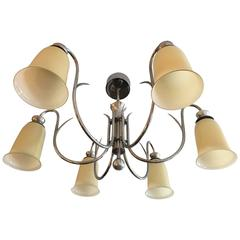 Swedish Silver 1920s Chandelier By Elis Bergh For Cg