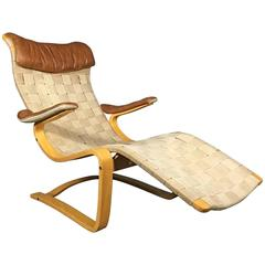 Gustaf Axel Berg Lounge Chair, Cotton Webbing, Leather, Sweden, 1949