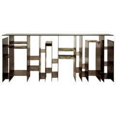 Acid Iron Console Table Bronze Glass Top and Iron
