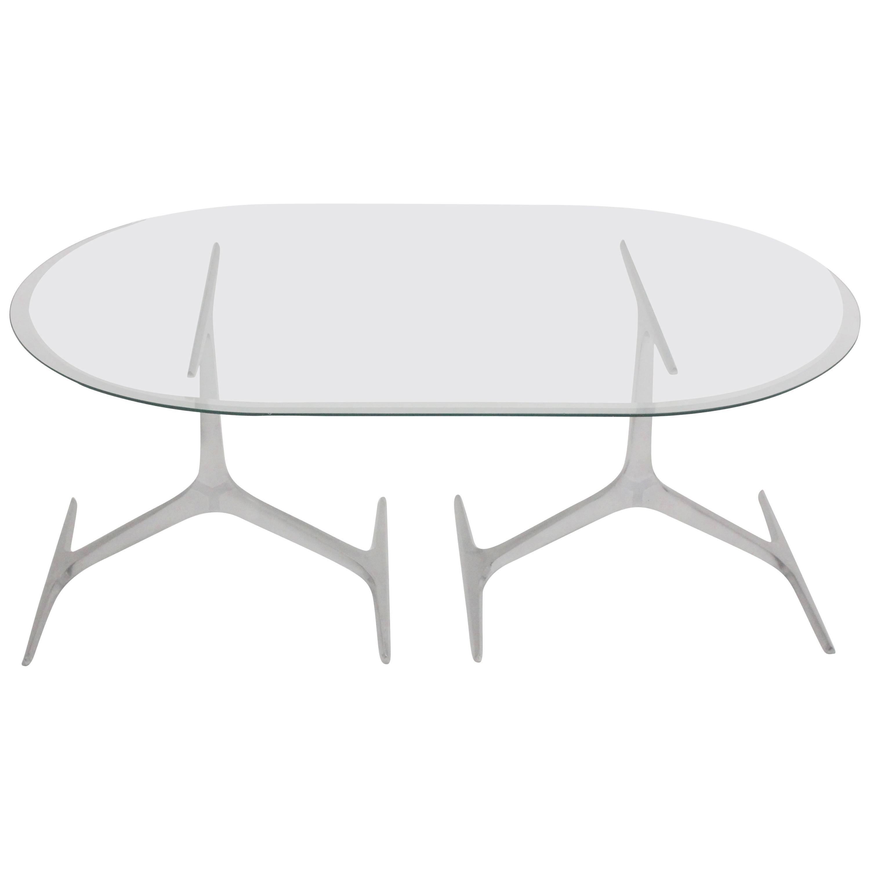 Mid Century Modern Aluminum Glass Coffee Table Knut Hesterberg, 1960s, Germany