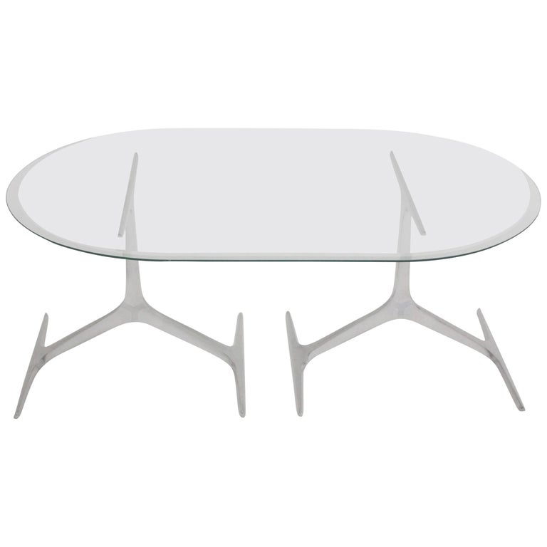Mid Century Modern Glass Metal Coffee Table by Knut Hesterberg, 1960s, Germany For Sale