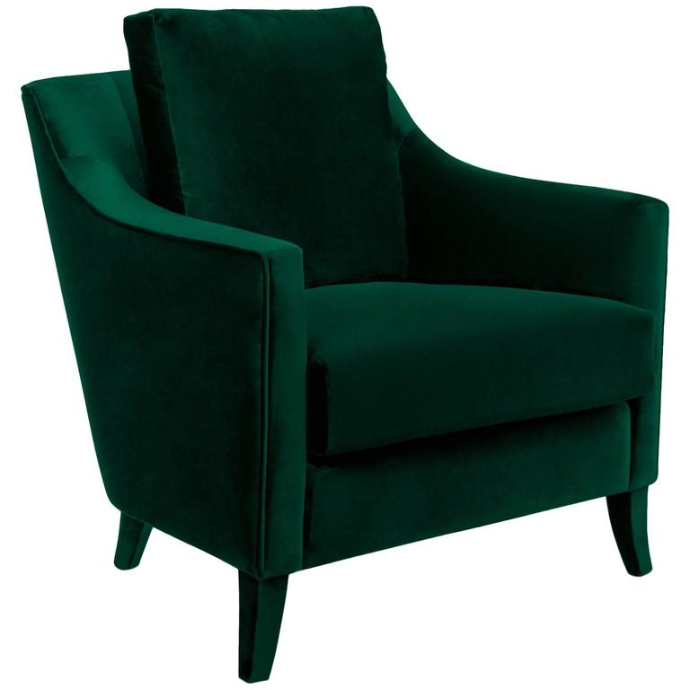 British Green Armchair In Cotton Velvet For Sale At 1stdibs