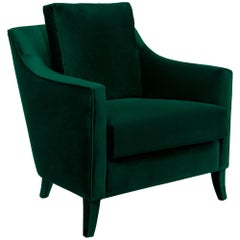 British Green Armchair covered with Velvet
