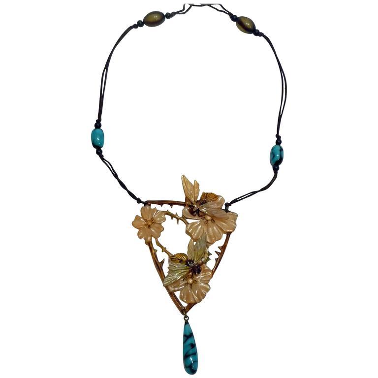 Elisabeth Bonté, an Art Nouveau Horn and Glass Beads Pendant, Signed 1