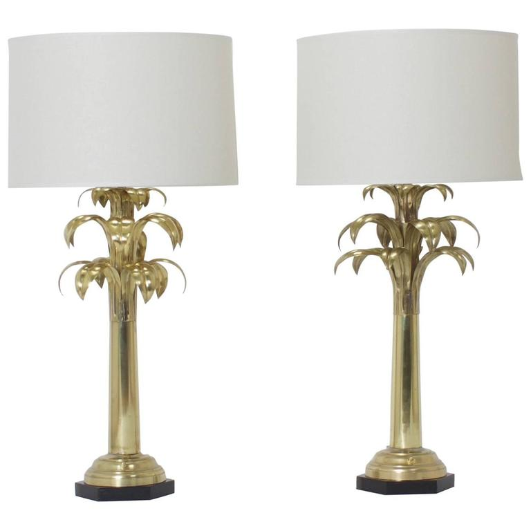 Pair Of Br Palm Tree Table Lamps For