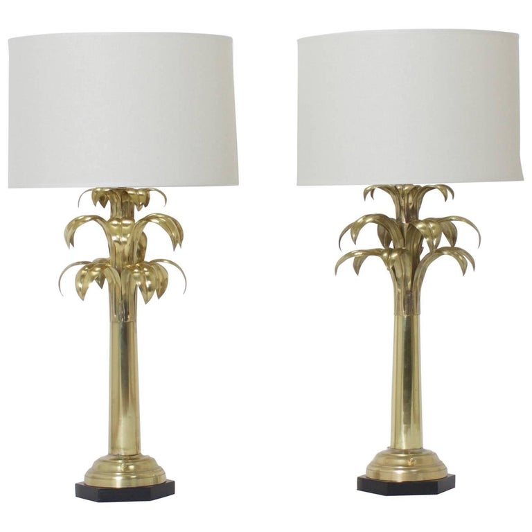 Pair of Brass Palm Tree Table Lamps For Sale