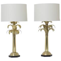 Pair Of Br Palm Tree Table Lamps