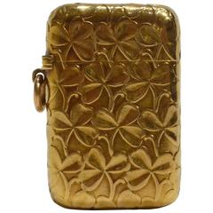 Paul Frey, a Gold Match Box Holder Decorated with Clovers