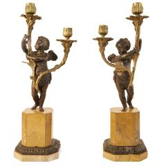Pair of 19th Century Figural Cherub Two-Arm Candelabra