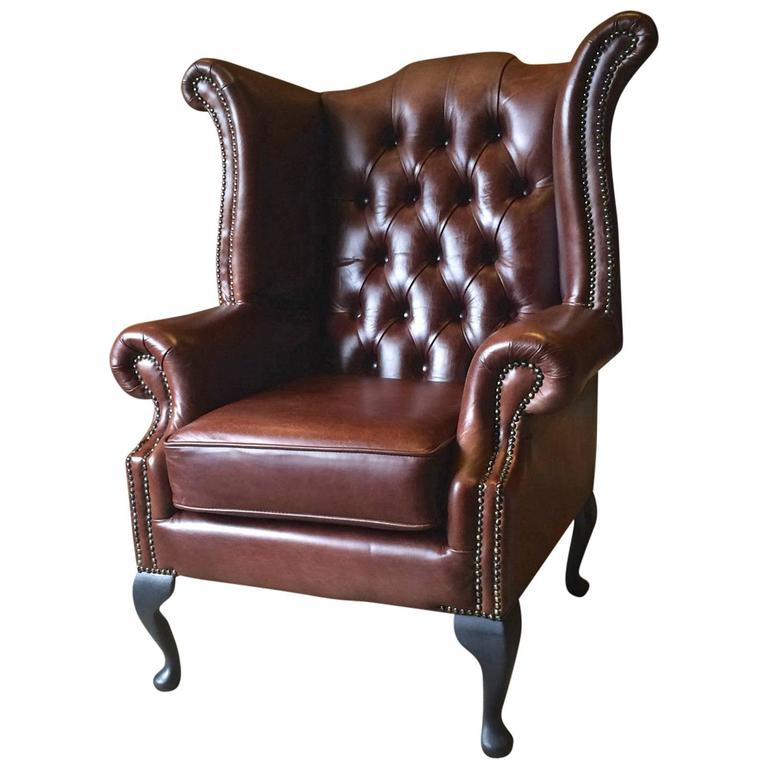 antique style armchair wingback button back brown leather chesterfield at 1stdibs. Black Bedroom Furniture Sets. Home Design Ideas