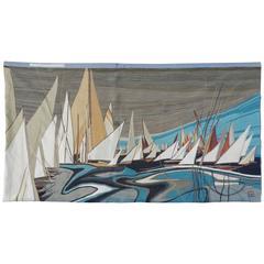 "Claude Prevost , ""Régate,"" 1970 Signed Woolen Tapestry"