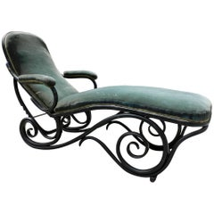 Black Bentwood Chaise Longue Attributed to Thonet circa 1900