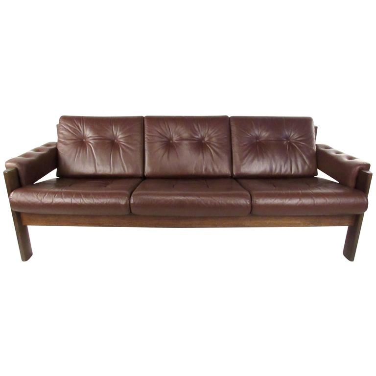 Mid Century Modern Tufted Leather Sofa At 1stdibs