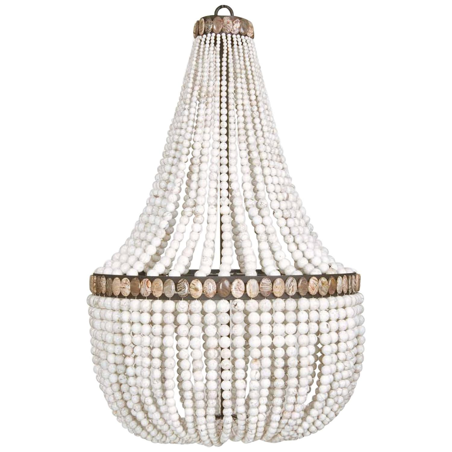 blanc company and candelabra pear bead currey inc chandeliers white shape chandelier vintner lighting
