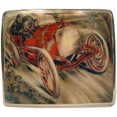 Racing Chain Car 'Pneus Jenatzy' Silver and Enamel Cigarette Case, circa 1903