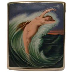 Erotic Silver and Enamel Nude Woman, Mermaid Cigarette Case Box