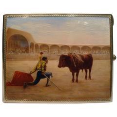 Silver and Enamel Cigarette Case Spanish-Style Bullfighting 'Corrida de Toros'