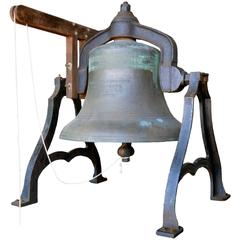 Early American Solid Bronze Bell with Decorative Cast Iron Support, circa 1886