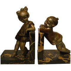 Art Deco Bronze Child Bookends by Alexandre Kelety, France, circa 1930