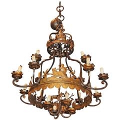 Unusual Whimsical 19th Century Iron Chandelier
