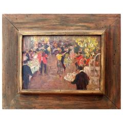 Diminutive Oil on Board Signed by Artist Eli Pavil and Dated 1910