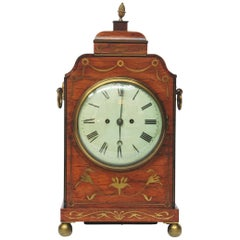 English Regency Rosewood Bracket Clock with Brass Inlay