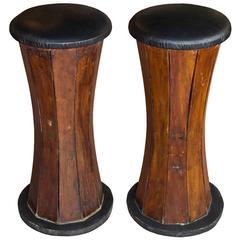 Pair of Vintage English Teak Stools