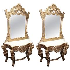 Pair of Carved Giltwood Marble-Topped Console Tables with Mirrors