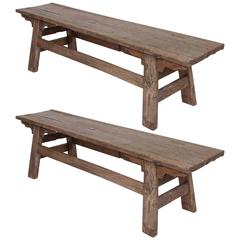 Pair of French Rustic Benches