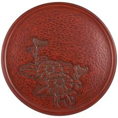 Mid-20th Century Kamakura Bori Red Lacquer Plate, Japan