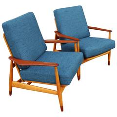 Rare Pair of Arne Vodder Teak and Beech Lounge Chairs, Restored & Reupholstered