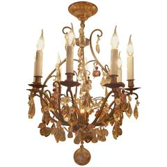 French Louis XV Style Patinated Bronze and Crystal Chandelier