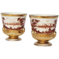 """Pair of """"Old Paris"""" French Porcelain Urns"""