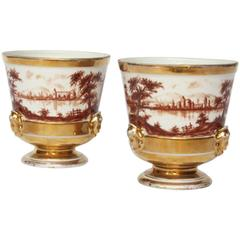 "Pair of ""Old Paris"" French Porcelain Urns"