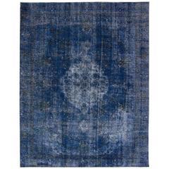 Apadana - Vintage 1950s Blue Overdyed Persian Rug, 9.09x12.05