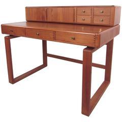Mid-Century Modern Sled Leg Teak Desk