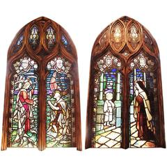 Pair of Stained Glass Cathedral Windows