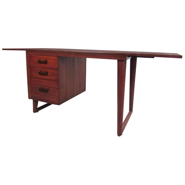 Sculptural Mid-Century Modern Drop-Leaf Writing Desk